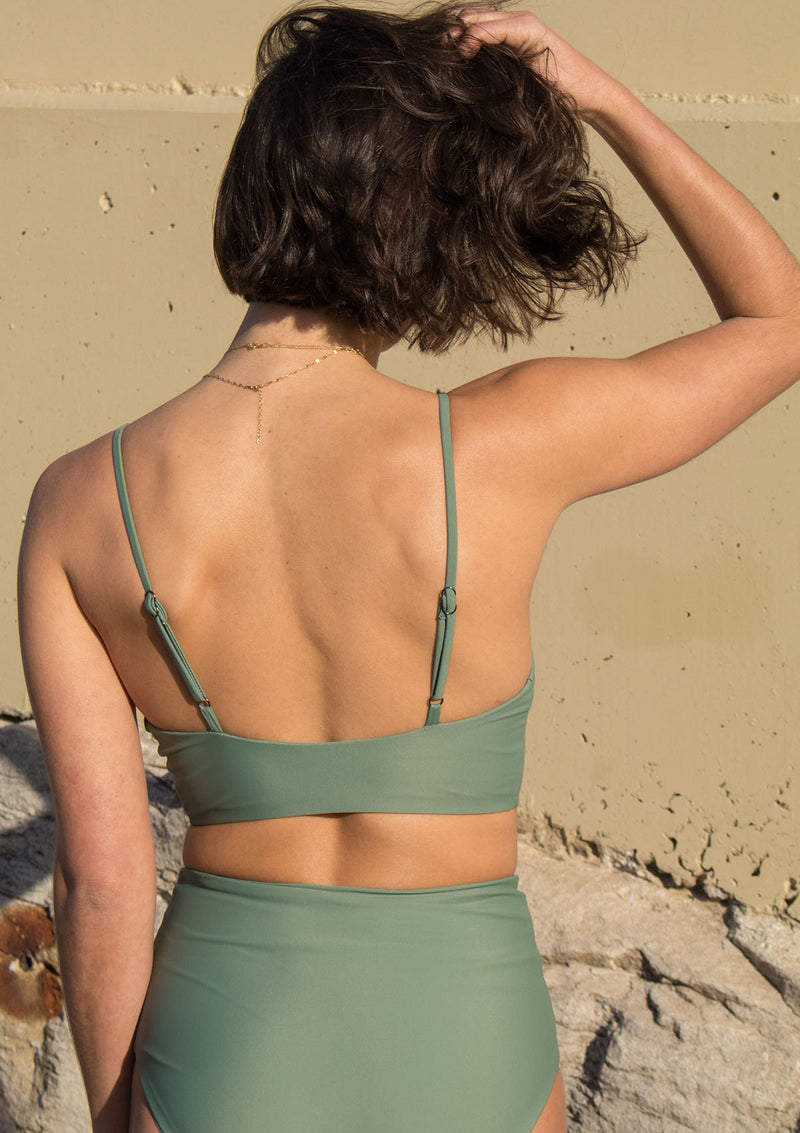 Sage High Waisted Bikini Bottom