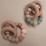 "Zao&Co ""Charlie"" teether in sage and peach tones"