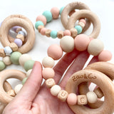 "Zao&Co ""Evie"" Personalised teething ring peach and beige"