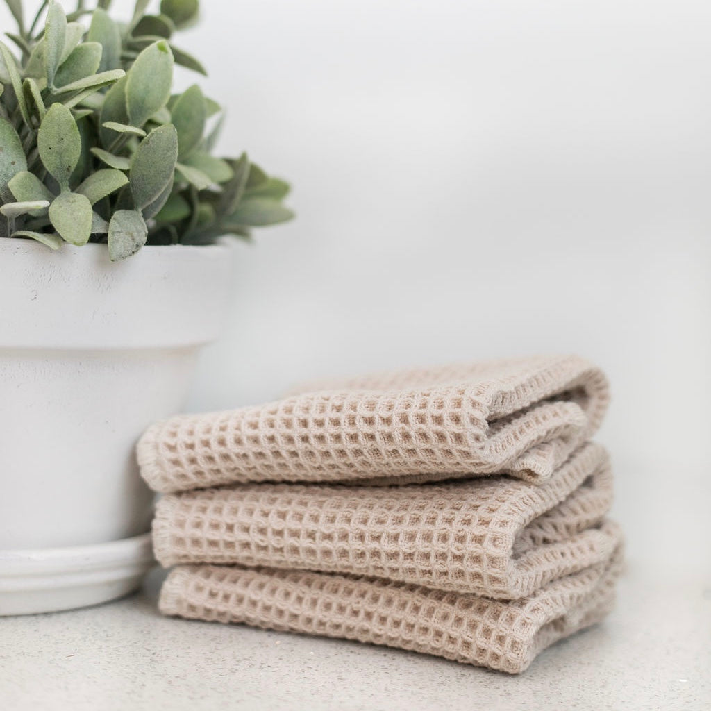 100% Organic Cotton Waffle Weave Face Cloth