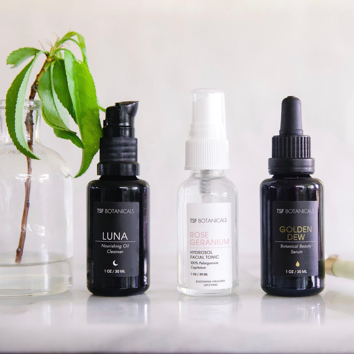 GLOWING SKIN COLLECTION || LUNA PLANT CLEANSING OIL, ROSE GERANIUM HYDROSOL + GOLDEN DEW