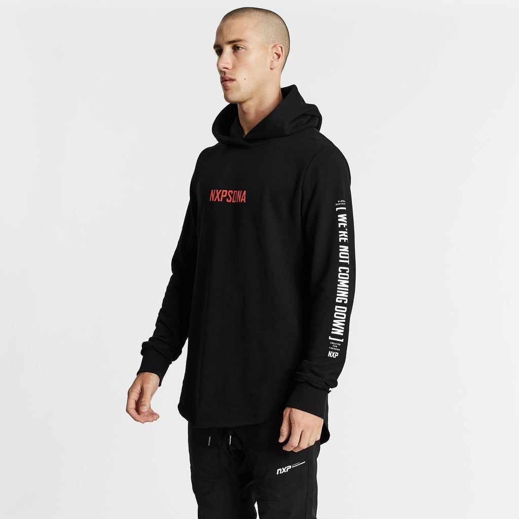 Above All Dual Curved Hoodie Jet Black