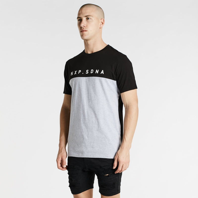 Born Free Cape Back T-Shirt Black/Grey Marle