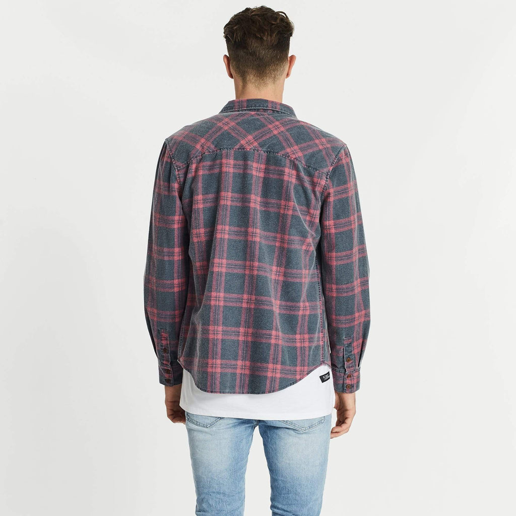 Charge Casual Lone Sleeve Shirt Navy/Red Check