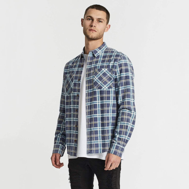 Charge Long Sleeve Shirt Navy/Teal Check