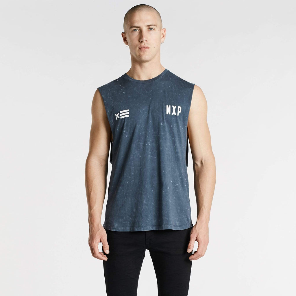 Decade Scoop Back Muscle Tee Acid Navy