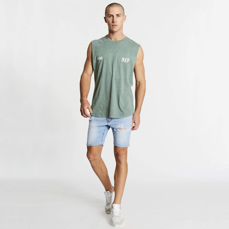 Decade Scoop Back Muscle Tee Acid Teal