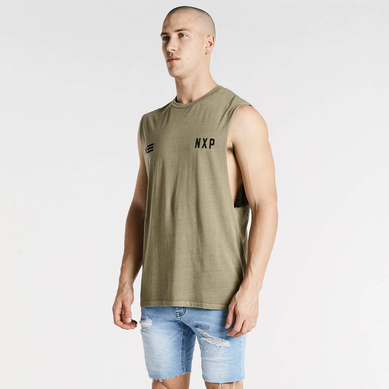 Decade Scoop Back Muscle Tee Pigment Olive