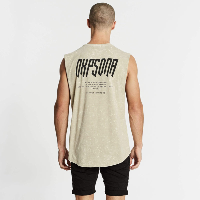 Eternity Scoop Back Muscle Tee Acid Sand