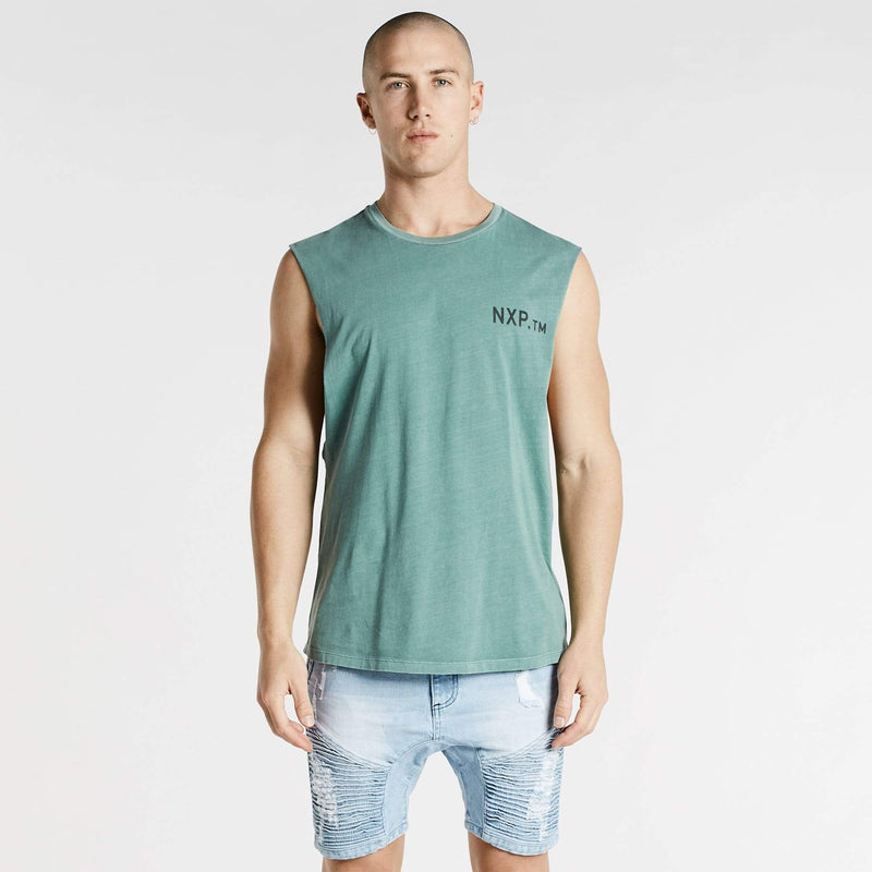 Freedom Time Scoop Back Muscle Tee Pigment Teal