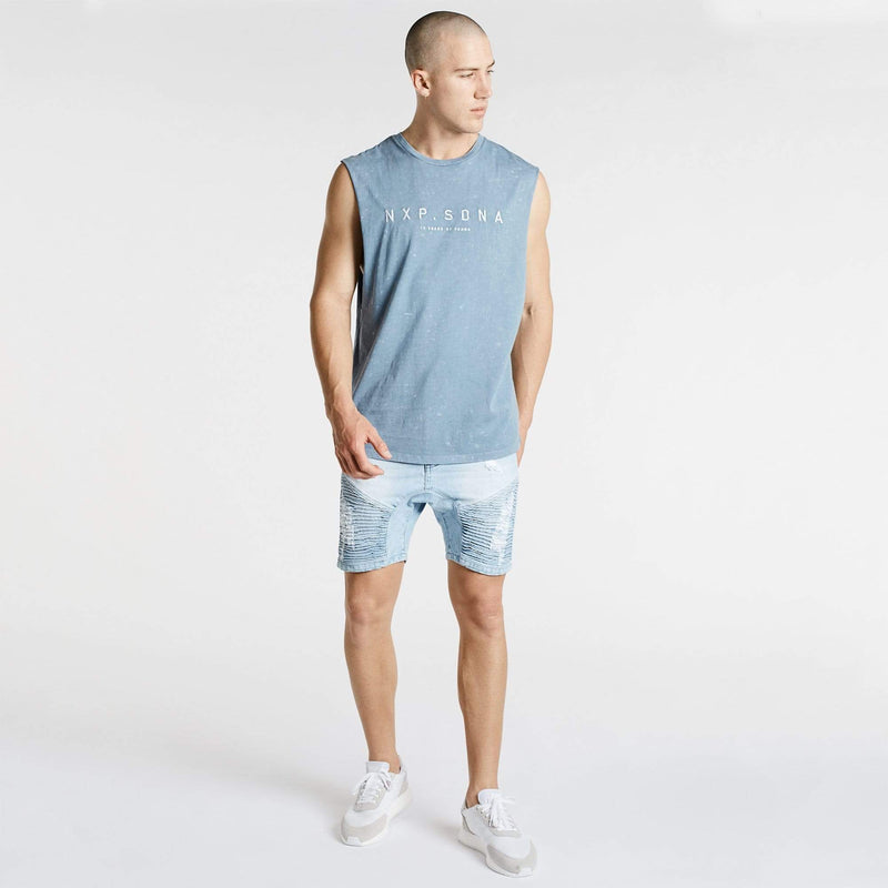 Generation Scoop Back Muscle Tee Acid Blue
