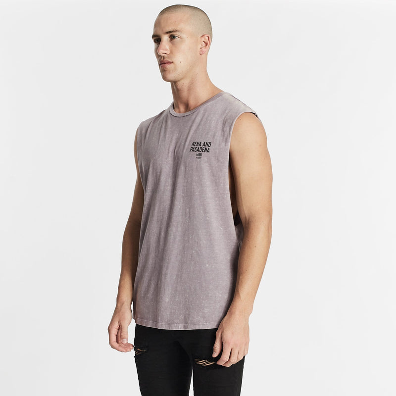 Not Trusted Scoop Back Muscle Tee Acid Lilac