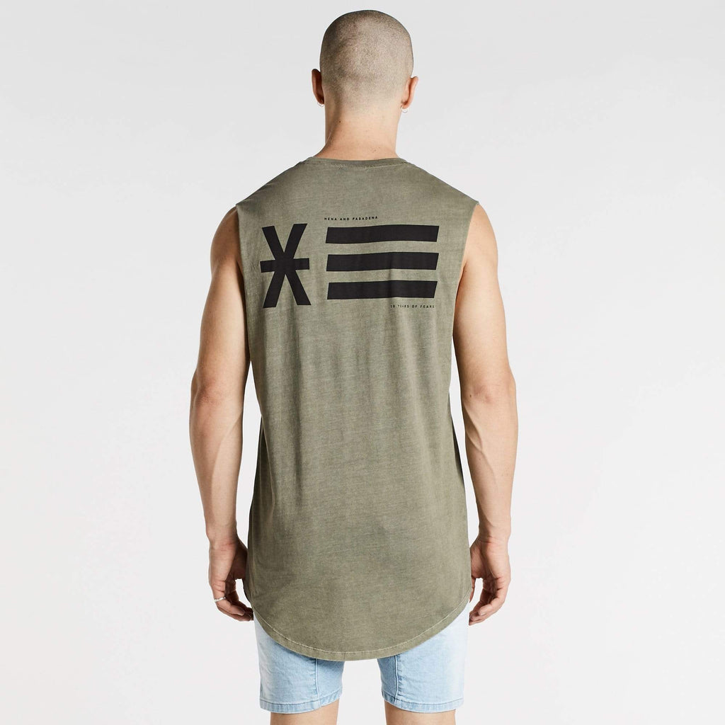 Opposites Cape Back Muscle Tee Pigment Khaki
