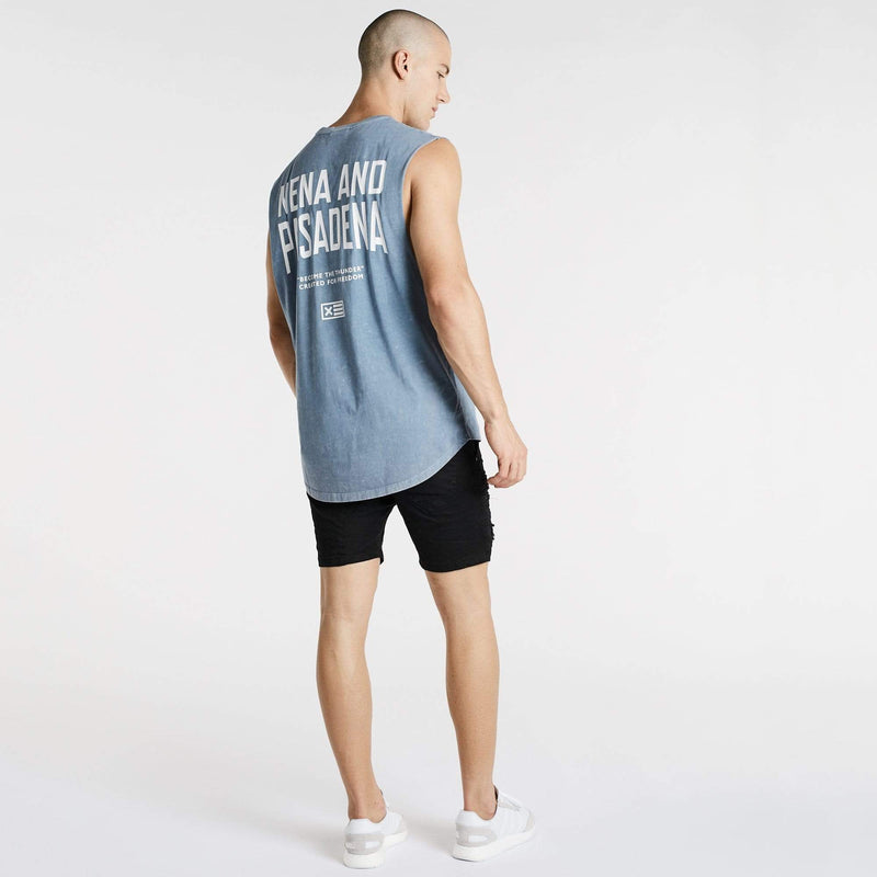 Outburst Scoop Back Muscle Tee Acid Blue