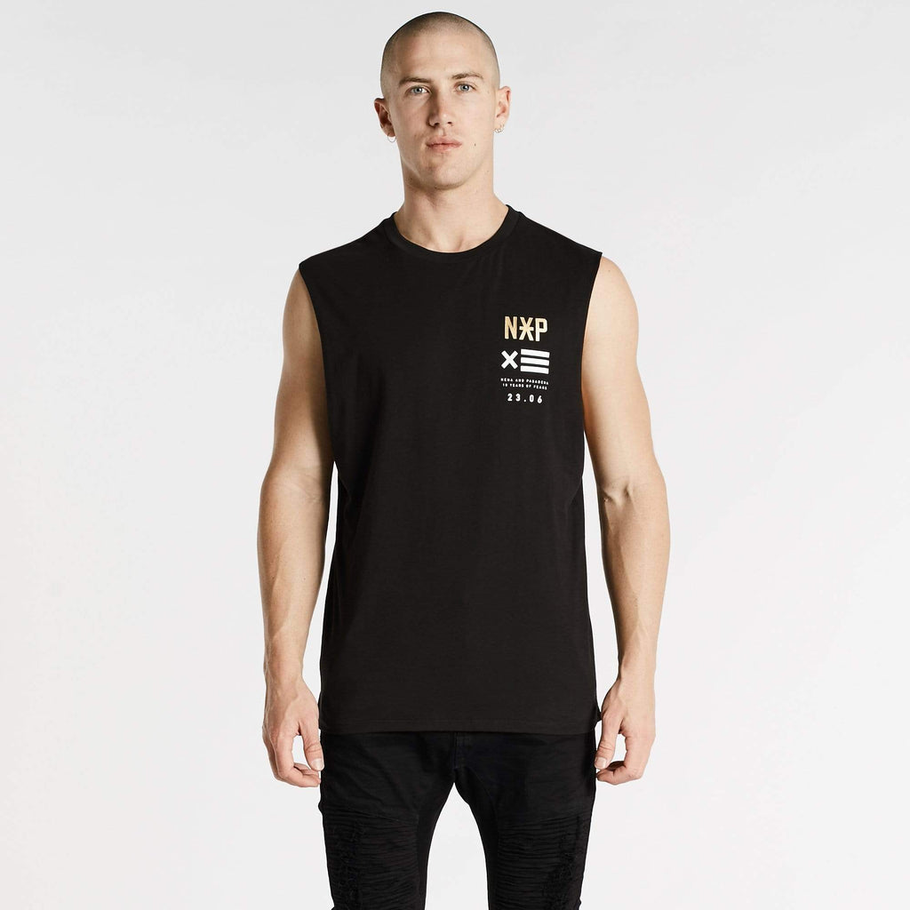 Power In Numbers Scoop Back Muscle Tee Jet Black