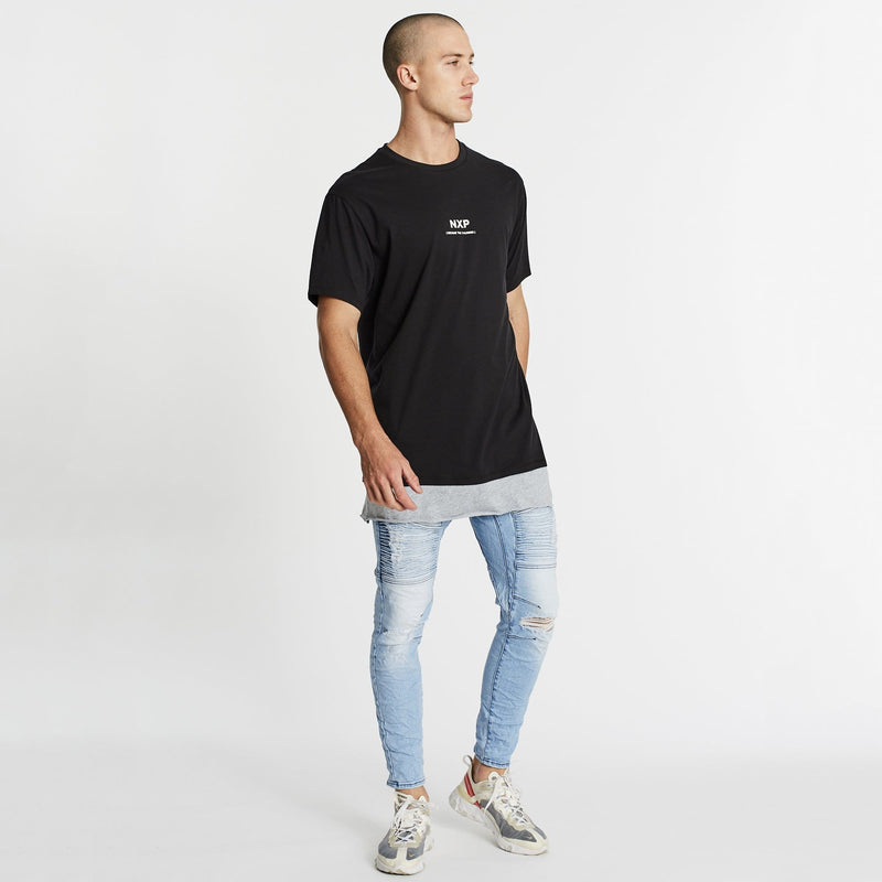 Pure Water Relaxed Layered T-Shirt Jet Black