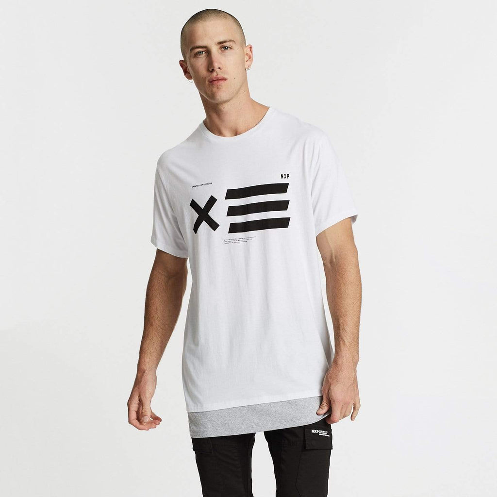 Unbound Relaxed Fit Layered Hem T-Shirt White