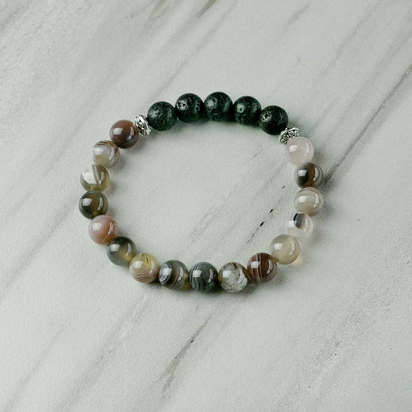 Botswana Agate Aromatherapy Essential Oil Diffuser Bracelet
