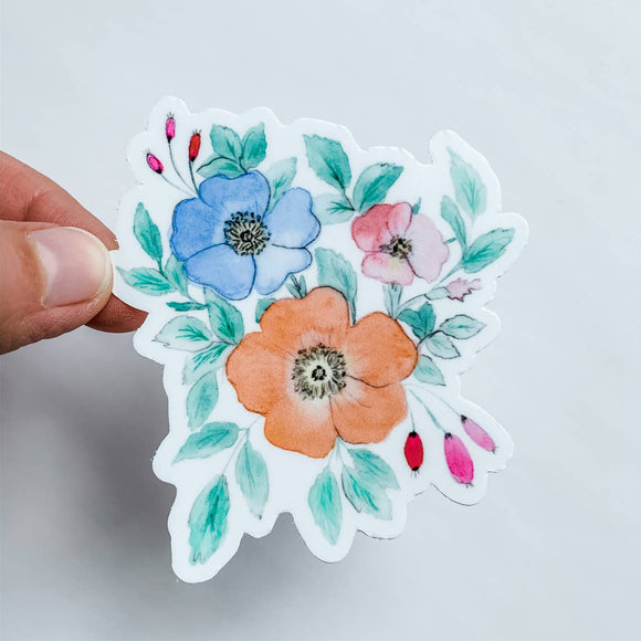 Watercolor Floral Trio Sticker | Orange Blue
