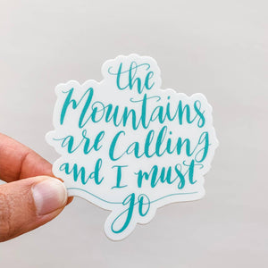 The Mountains Are Calling Sticker | Mint Green
