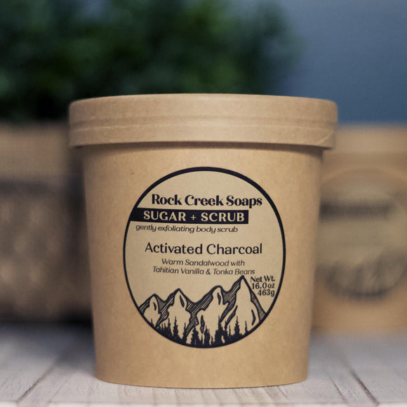 SUGAR + SCRUB<p><h6><I>15oz Sugar Scrub with Activated Charcoal</i></h6></p> - Rock Creek Soaps