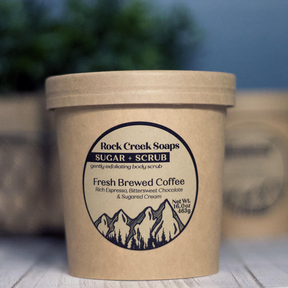 SUGAR + SCRUB<p><h6><I>15oz Sugar Scrub with Fresh Brewed Coffee</i></h6></p> - Rock Creek Soaps