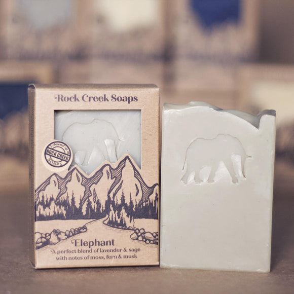 ELEPHANT <p><h6><I>Lavender & sage with notes of moss, fern & musk</i></h6></p> - Rock Creek Soaps