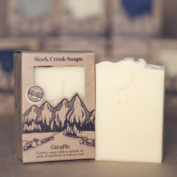 GIRAFFE <p><h6><I>Earthy sage with a splash of pink grapefruit & lemon zest</i></h6></p> - Rock Creek Soaps