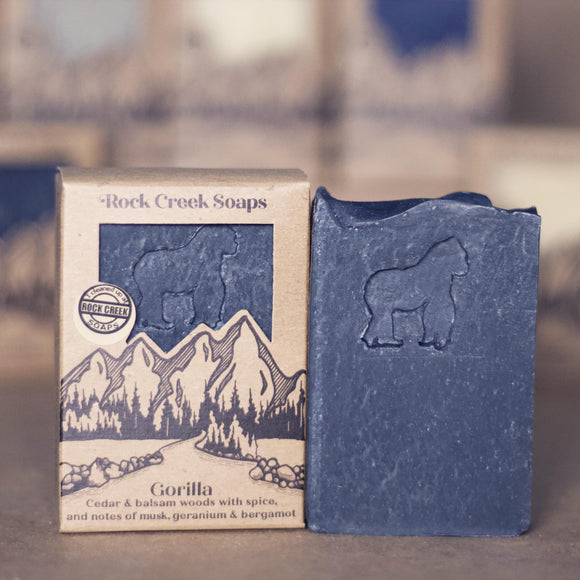 GORILLA <p><h6><I>Woodsy warm spices, musk and notes of geranium & bergamot</i></h6></p> - Rock Creek Soaps