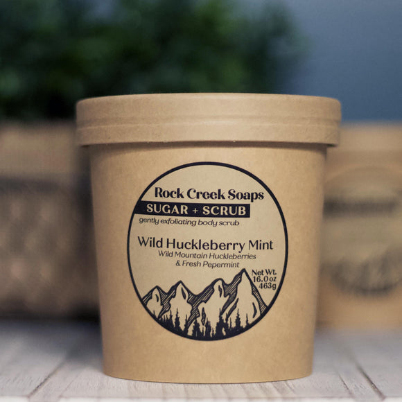 SUGAR + SCRUB<p><h6><I>15oz Sugar Scrub with Huckleberry Mint</i></h6></p> - Rock Creek Soaps