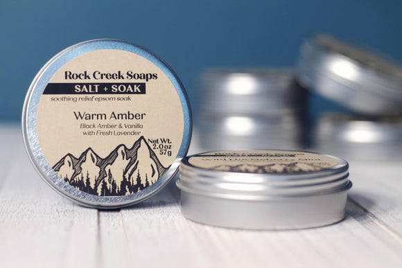 SALT + SOAK<p><h6><I>2oz Salt Soak in Warm Amber</i></h6></p> - Rock Creek Soaps