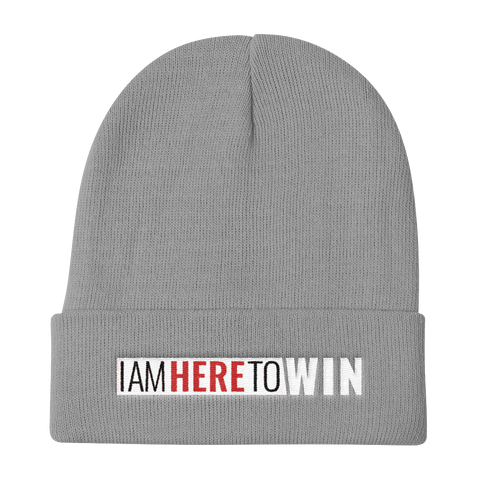 I Am Here To Win Knit Beanie