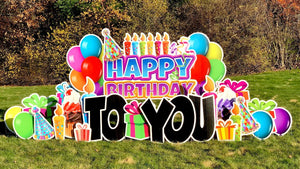 "Rent ""Happy Birthday!"" yard signage- corrugated plastic signs."