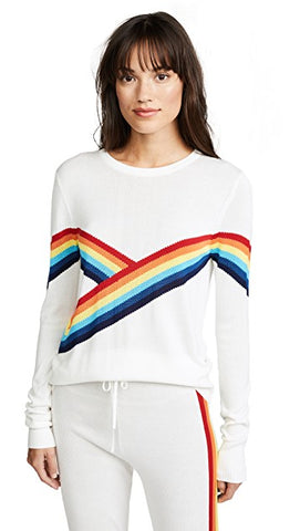 Madeleine Thompson Rainbow Sweater White