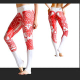 Chinese Print Yoga Pants Legging Running Fitness Weightlifting