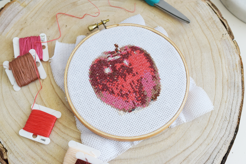 an apple a day cross stitch diy kit choosing colored embroidery floss string