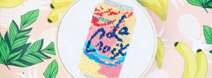 La Croix Fizzy Sparkling Water Drink DIY Embroidery Cross Stitch Kit, All Supplies Included: Embroidery Hoop, Embroidery Floss, Embroidery Needle, La Croix Pattern, Aida Cloth, Felt Square for Backing, and Basic Cross Stitch Instructions