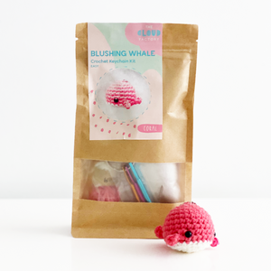 Crochet Keychain Kit Blushing Whale The Cloud Factory TheCloudFactory DIY Craft Kit Coral Easy Crafting Beginner