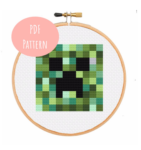 minecraft creeper computer game microsoft xbox video game cross stitch kit pattern pdf download