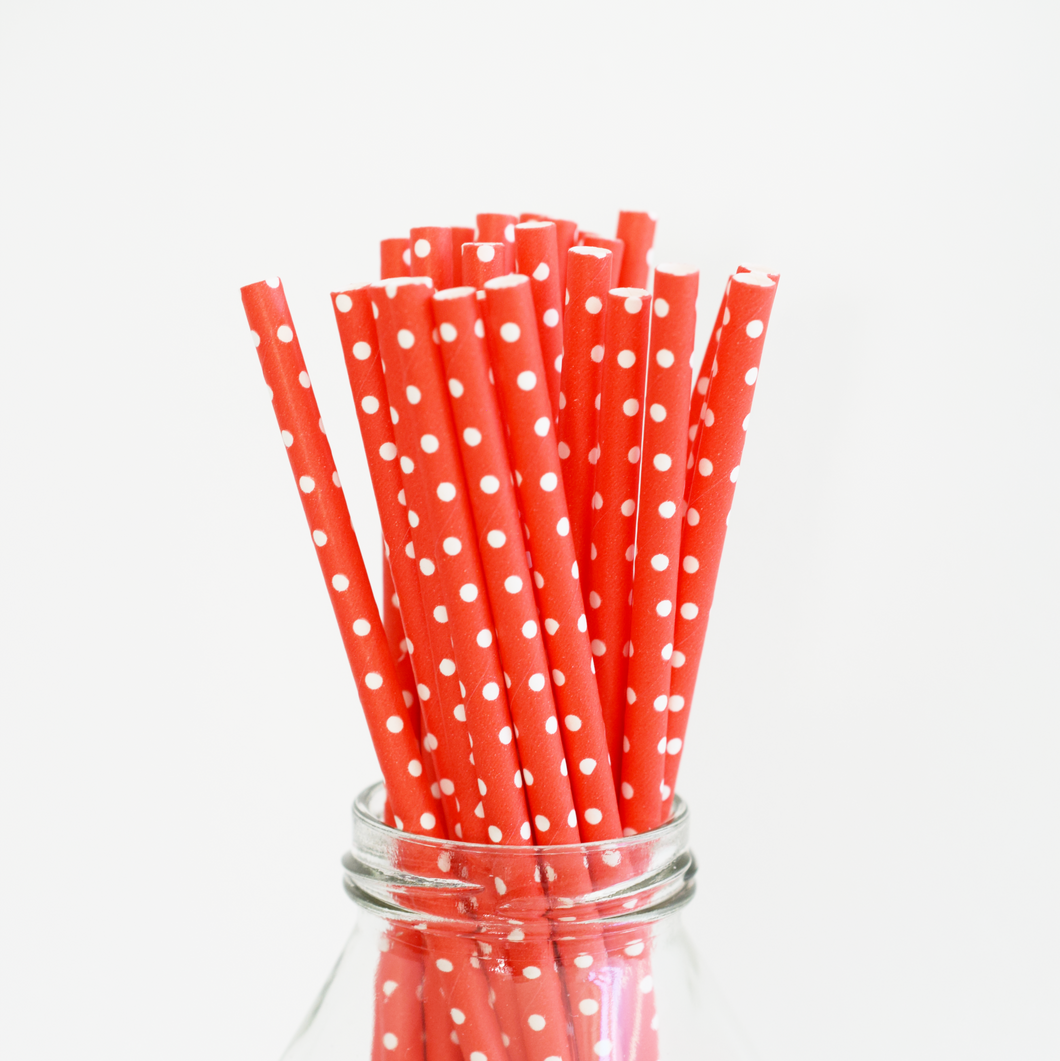 Red Polka Dot Paper Straws - 25 Pieces