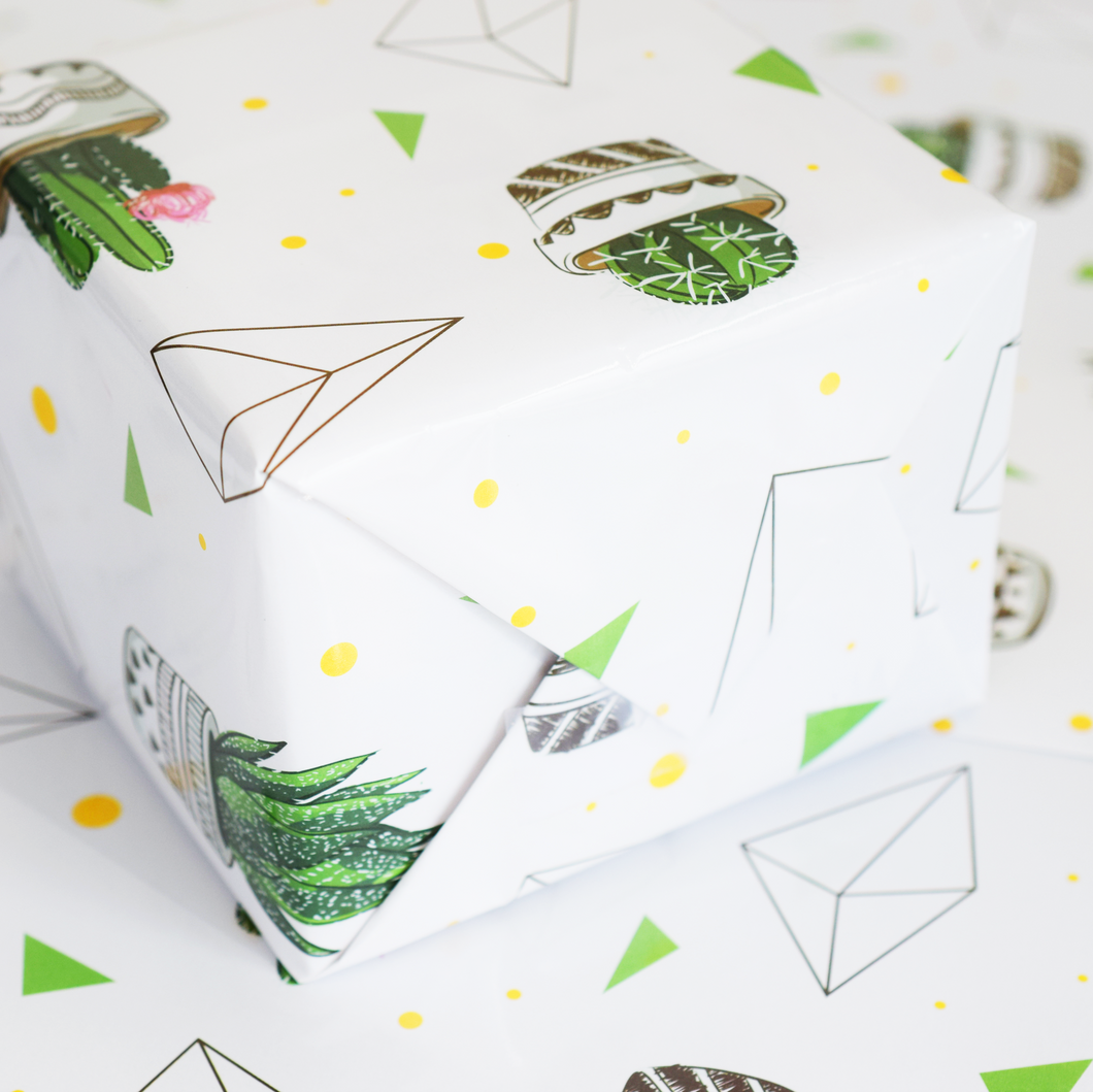 Geometric Succulents Wrapping Paper - 3 Sheets