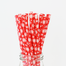 Red and White Snowflake Paper Straws - 25 Pieces