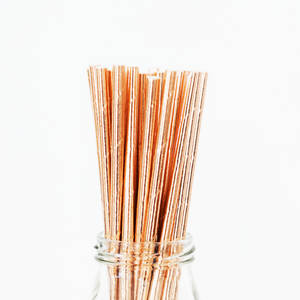 Solid Rose Gold Paper Straws - 25 Pieces