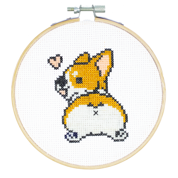 Corgi Butt DIY Cross Stitch Kit, Stitching, Coffee, Dog Puppy Meme, Craft Kit, Stitching, TheCloudFactory craft store, The Cloud Factory, Cloth Aida, Embroidery Floss, Embroidery Hoop, Embroidery Needle, Pattern, Beginner's guide, felt square