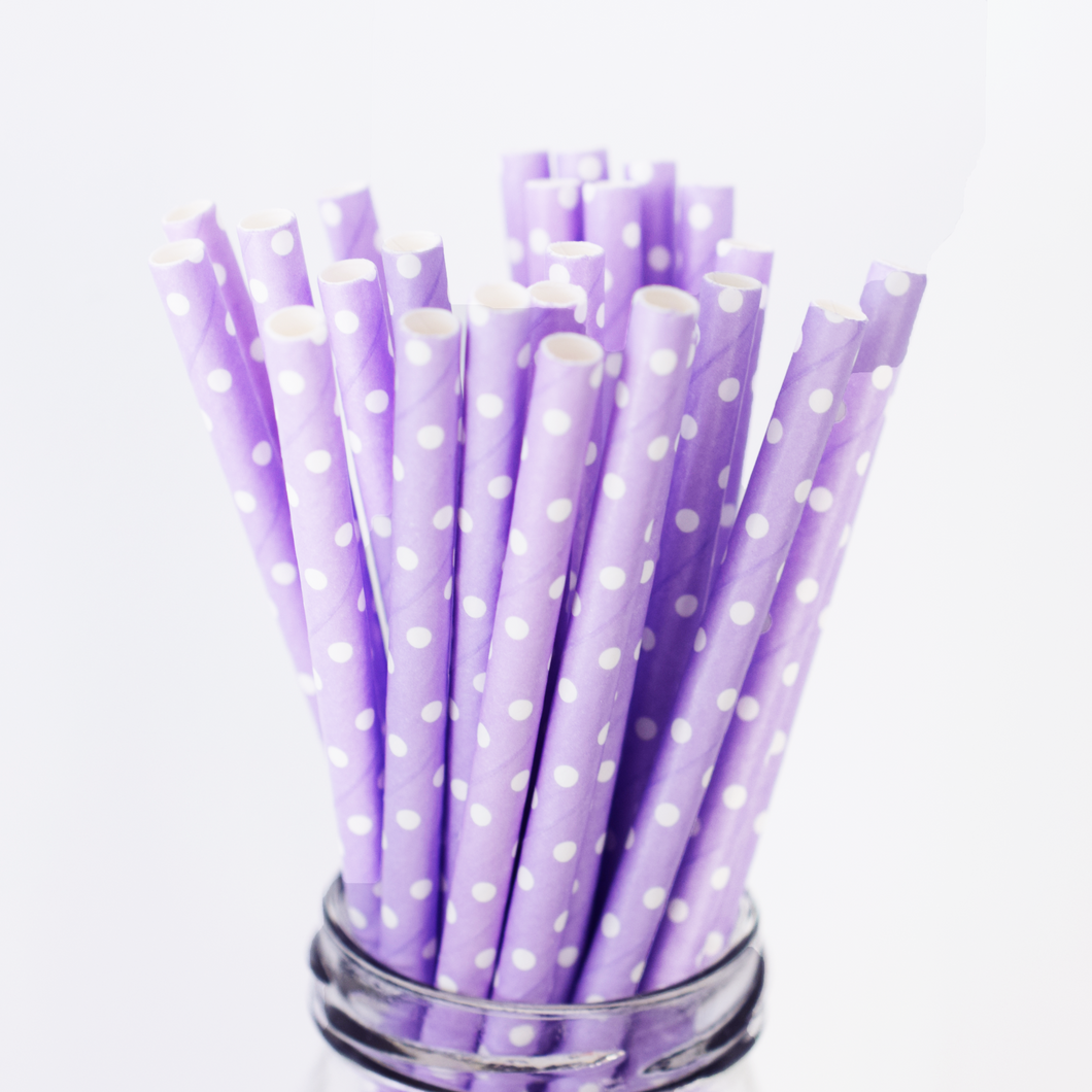 Purple Polka Dot Paper Straws - 25 Pieces