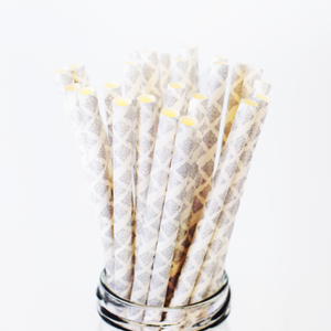 Gray Quatrefoil Paper Straws - 25 Pieces