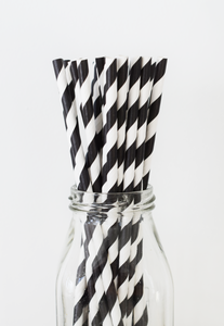 Striped Black Paper Straws - 25 Pieces