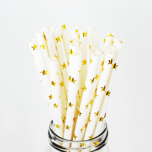 Gold Star Paper Straws - 25 Pieces