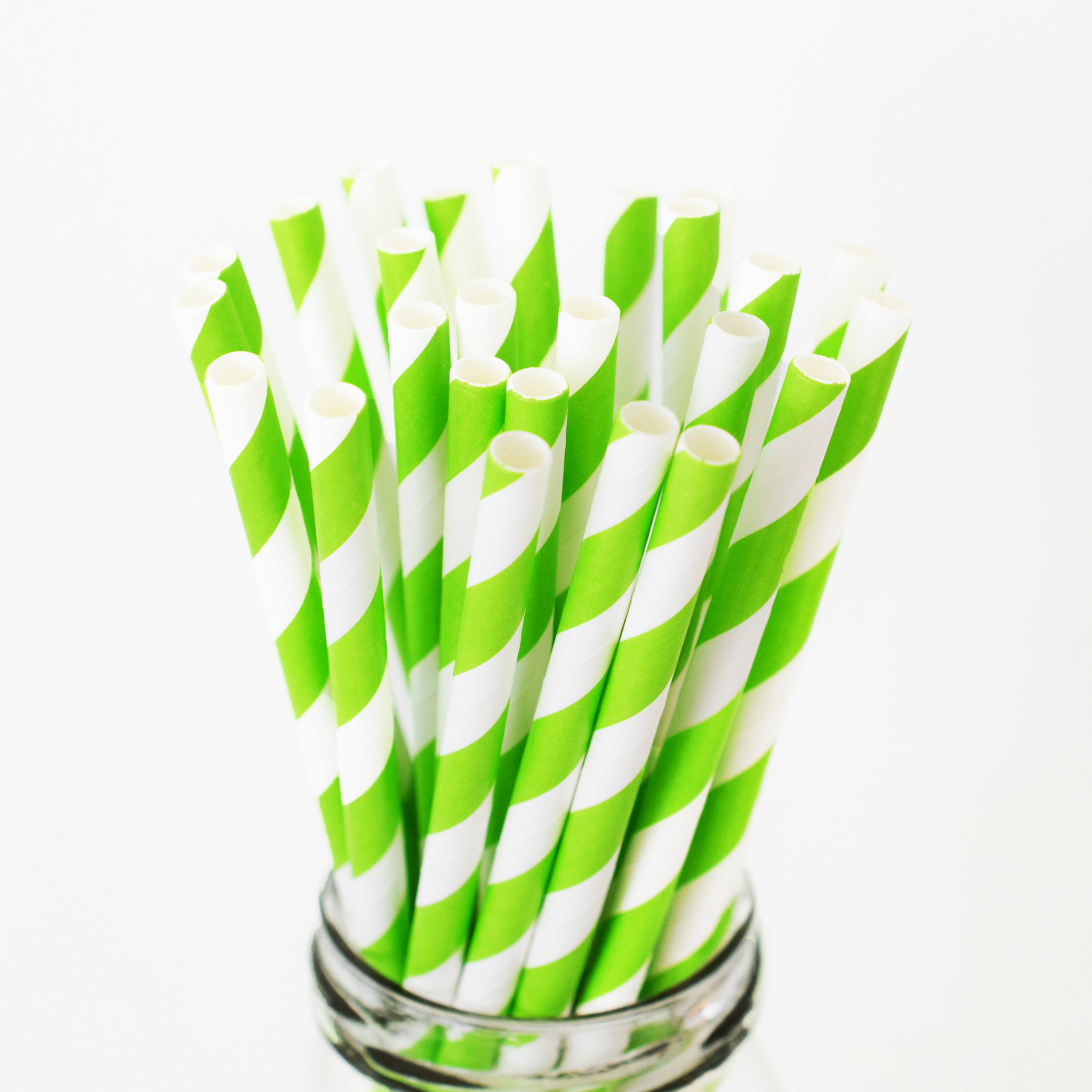 Striped Lime Green Paper Straws - 25 Pieces