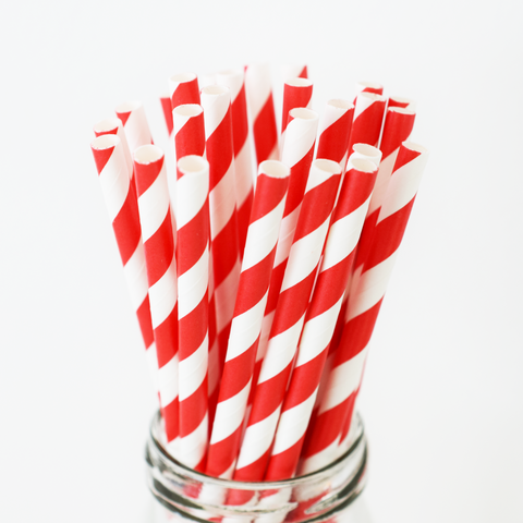 Striped Red Paper Straws - 25 Pieces